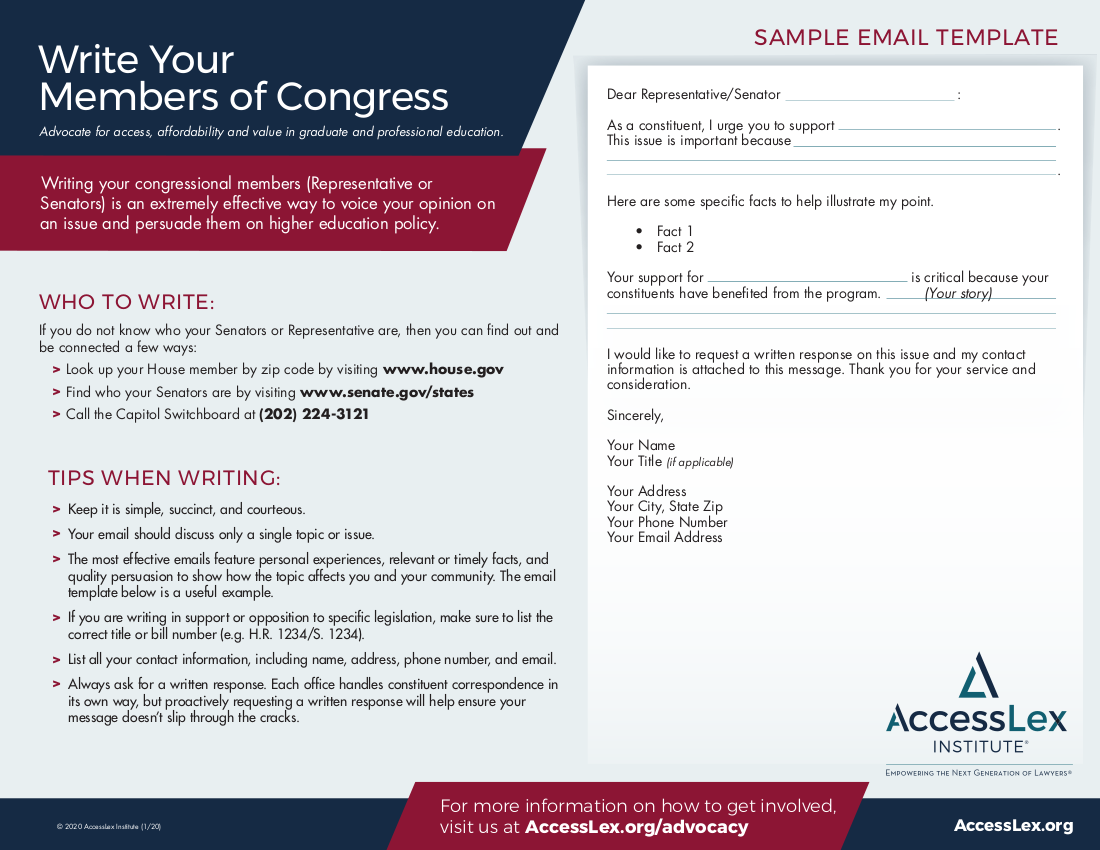 Write Your Congressional Member Email Template