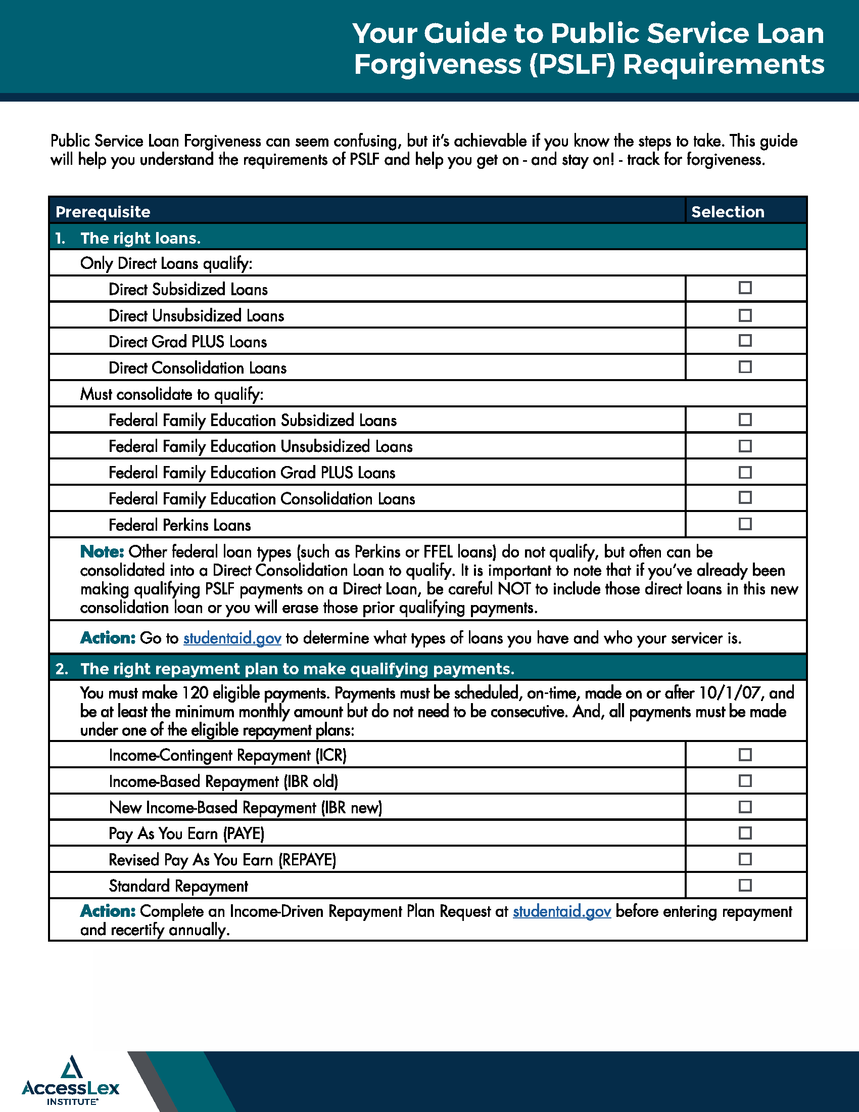 PSLF Checklist - Page 1