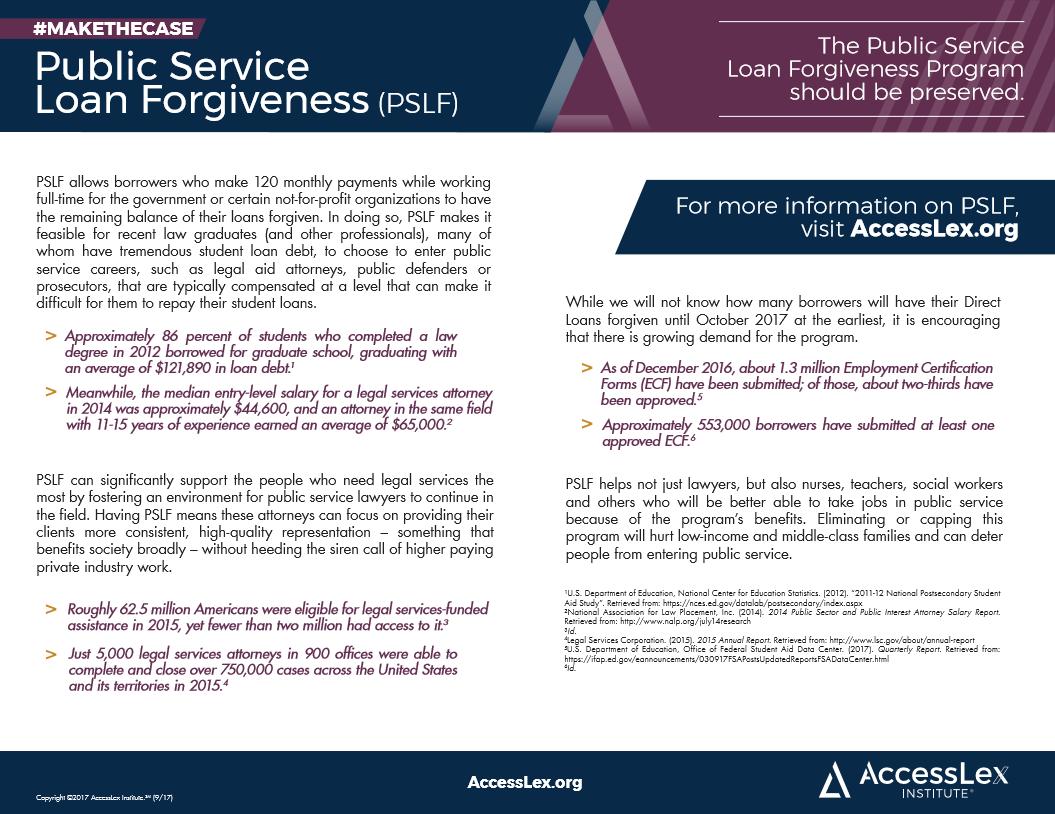 Fact Sheet Public Service Loan Forgiveness Pslf Accesslex