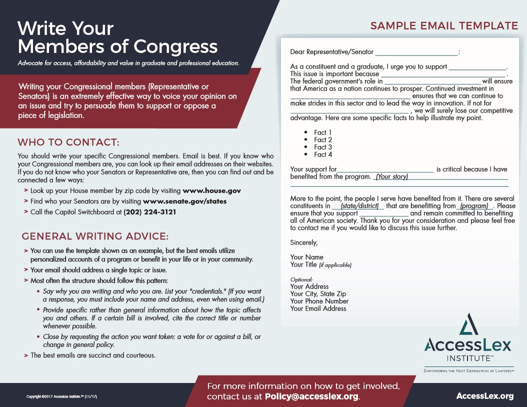 Write Your Congressional Member Letter Template  Accesslex