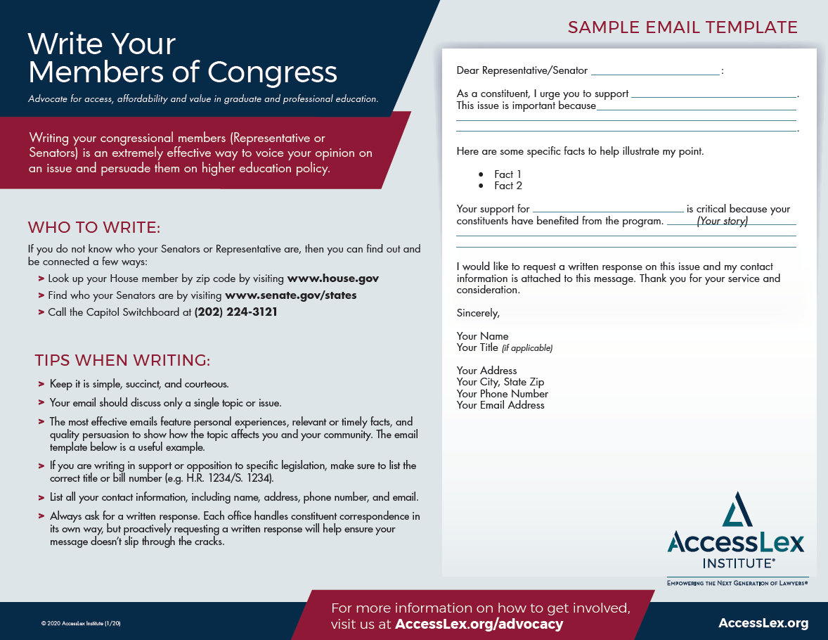 Information regarding writing to congressional members